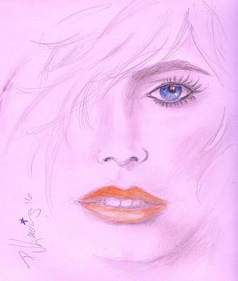 Red Lips Drawing - Pink by PJ Lewis