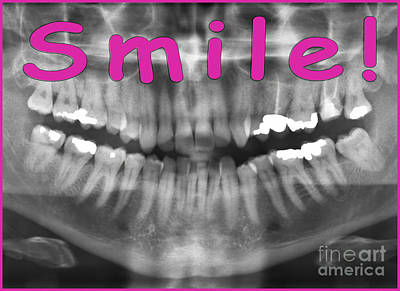 Xray Digital Art - Pink Panoramic Dental X-ray With A Smile  by Ilan Rosen