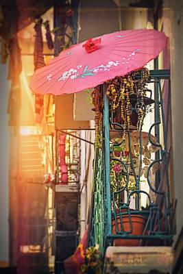 Photograph - Pink Parasol On A Lisbon Balcony  by Carol Japp