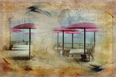 Digital Art - Pink Parasols On Sugar Beach by Nicky Jameson