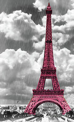 Tour Eiffel Painting - Pink Paris by Mindy Sommers