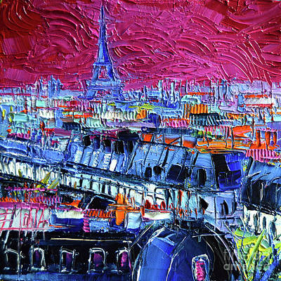 Railing Painting - Pink Paris by Mona Edulesco