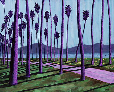 Santa Barbara Painting - Pink Path Through The Purple Palms by Anne West
