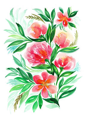 Pink Peach Peony And Rose Flower In Watercolor Art Print by My Art