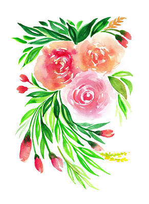 Pink Peach Rose Flower In Watercolor Art Print by My Art