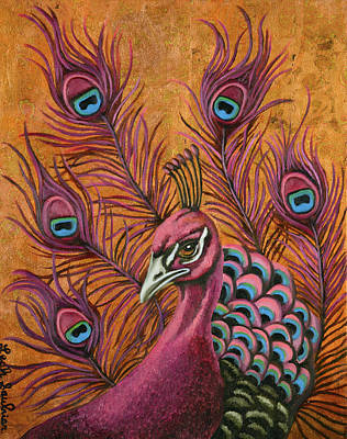 Art Print featuring the painting Pink Peacock by Leah Saulnier The Painting Maniac