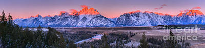Photograph - Pink Peaks Agains A Purple Sky Panorama by Adam Jewell