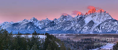Photograph - Pink Peaks Over The Snake River Overlook by Adam Jewell