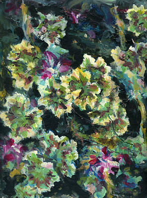 Outdoor Still Life Painting - Pink Pelargonium by Alexandra Cook