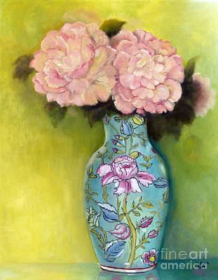 Painting - Pink Peonies In An Aqua Vase by Marlene Book