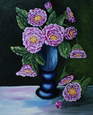 Painting - Pink Peonies In Blue Vase by Theresa Cangelosi