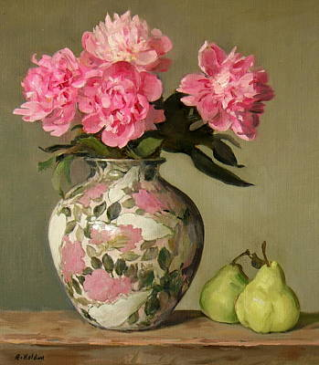 Painting - Pink Peonies And Pears by Robert Holden