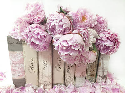 Photograph - Pink Peonies Paris Books Romantic Shabby Chic Wall Art Home Decor by Kathy Fornal