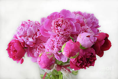 Photograph - Pink Peonies Red Peonies Floral Bouquet - Romantic Pink Red Cottage Peonies  by Kathy Fornal