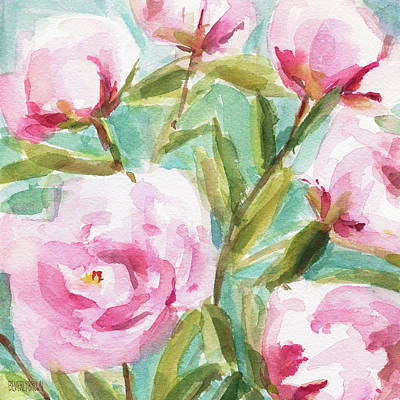 Large Flower Painting - Pink Peony Branches by Beverly Brown Prints