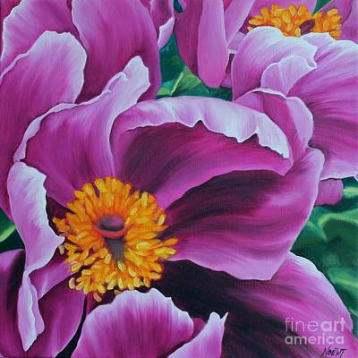 Print featuring the painting Pink Peony by Jindra Noewi