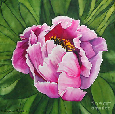 Tapestry - Textile - Pink Peony On Silk by Suzanne Schaefer