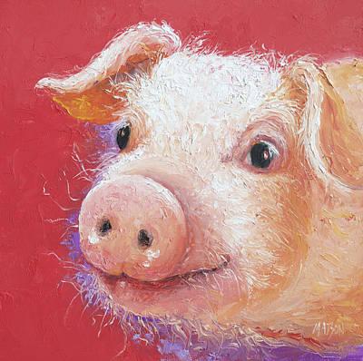 Pink Pig Painting Art Print
