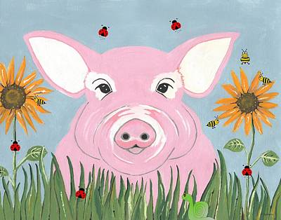 Mixed Media - Pink Piggy by Kathleen Sartoris