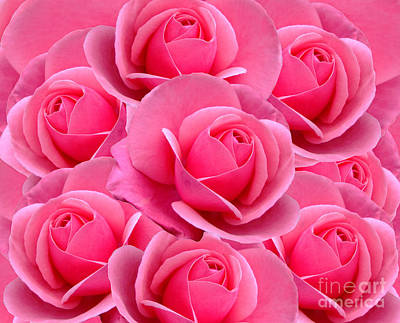 Digital Art - Pink Pink Roses by Julia Underwood