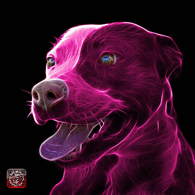 Mixed Media - Pink Pit Bull Fractal Pop Art - 7773 - F - Bb by James Ahn