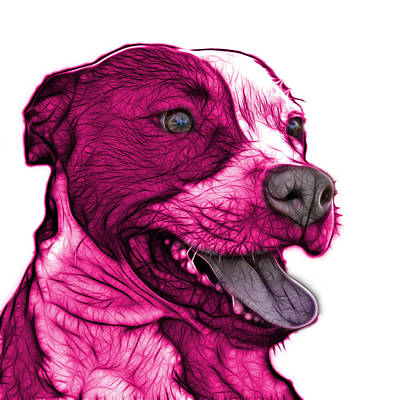 Mixed Media - Pink Pit Bull Fractal Pop Art - 7773 - F - Wb by James Ahn