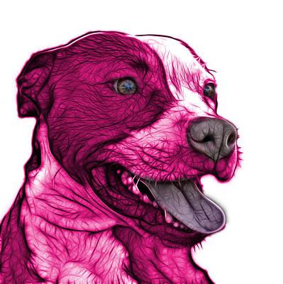 Pink Pit Bull Fractal Pop Art - 7773 - F - Wb Art Print