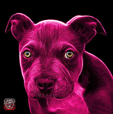 Painting - Pink Pitbull Puppy Pop Art - 7085 Bb by James Ahn