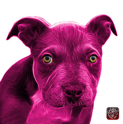 Painting - Pink Pitbull Puppy Pop Art - 7085 Wb by James Ahn