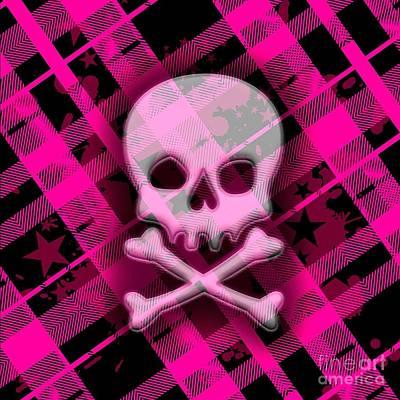 Pink Plaid Skull Art Print by Roseanne Jones