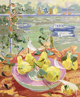 Boats In Reflecting Water Painting - Pink Plate Of Pears by Elizabeth Jane Lloyd