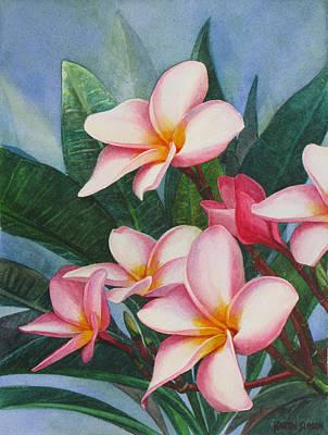 Pink Plumerias Art Print by Karen  Sioson
