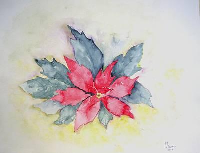 Pink Poinsetta On Blue Foliage Art Print