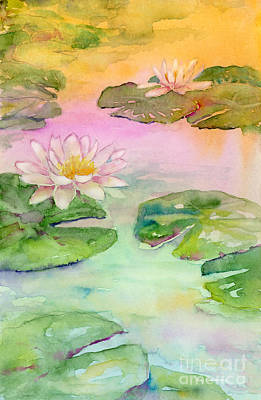 Lilies Royalty-Free and Rights-Managed Images - Pink Pond by Amy Kirkpatrick