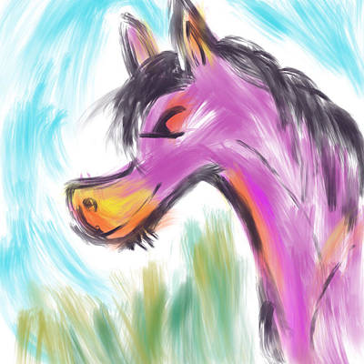 Digital Art - Pink Pony by Marti McGinnis