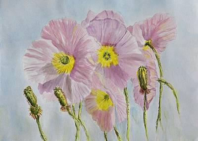 Pink Poppies 1 Watercolor Original by Linda Brody