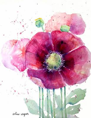 Pink Poppies Art Print by Arline Wagner