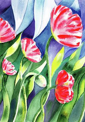Painting - Pink Poppies Batik Style by Irina Sztukowski