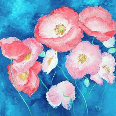 Painting - Pink Poppies On Dark Blue Backgound by Jan Matson