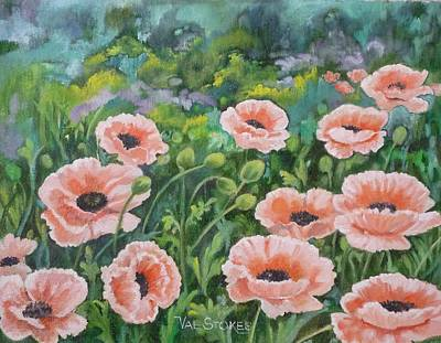 Pink Poppies Art Print by Val Stokes