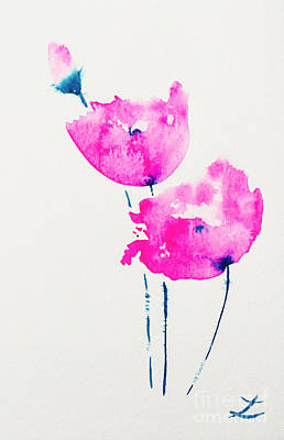 Painting - Pink Poppies by Zaira Dzhaubaeva