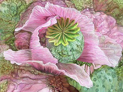 Mixed Media - Pink Poppy Organica by Carol Cavalaris