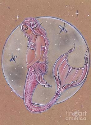 Drawing - Pink Pregnancy Mermaid by Renee Lavoie