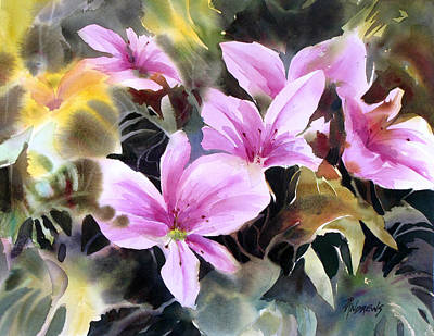 Wet Into Wet Watercolor Painting - Pink Prize by Rae Andrews