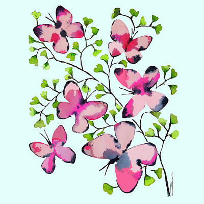 Butterfly Wall Art - Painting - Pink Profusion Butterflies by Roleen Senic