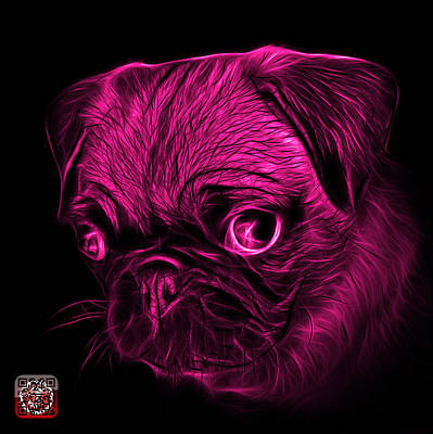 Digital Art - Pink Pug -  9567 Fs B by James Ahn