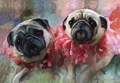 Pink Pug Princesses On Parade Art Print by Elizabeth Murphy
