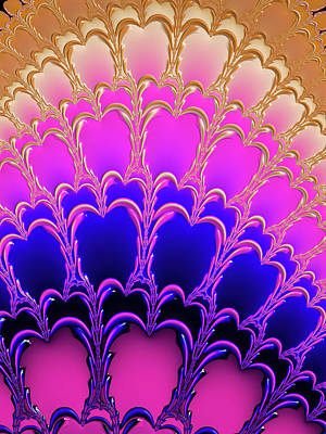 Royalty-Free and Rights-Managed Images - Pink purple blue gold Fractal Ornament by Matthias Hauser