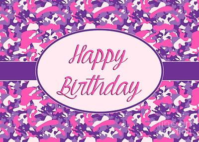 Digital Art - Pink Purple Camo Birthday by JH Designs