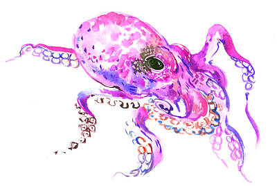 Octopus Painting - Pink Purple Octopus by Suren Nersisyan